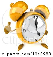 Royalty Free RF Clip Art Illustration Of A 3d Yellow Alarm Clock Character Giving A Thumbs Up