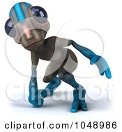 Royalty Free RF Clip Art Illustration Of A Curious 3d Alien Facing Forward by Julos