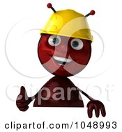 Royalty Free RF Clip Art Illustration Of A 3d Worker Ant Holding A Blank Sign With A Thumbs Up by Julos