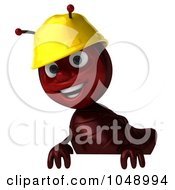 Royalty Free RF Clip Art Illustration Of A 3d Worker Ant Standing Behind A Blank Sign by Julos