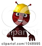 Royalty Free RF Clip Art Illustration Of A 3d Worker Ant Holding A Blank Sign by Julos