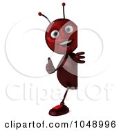 Royalty Free RF Clip Art Illustration Of A 3d Ant Standing Around A Blank Sign With A Thumbs Up