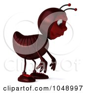 Royalty Free RF Clip Art Illustration Of A 3d Ant Facing Right And Pouting
