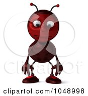 Royalty Free RF Clip Art Illustration Of A 3d Ant Facing Front And Pouting