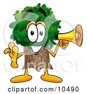 Tree Mascot Cartoon Character Holding A Megaphone