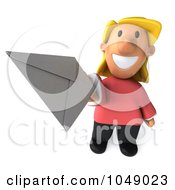Royalty Free RF Clip Art Illustration Of A 3d Casual Woman Holding A Letter 1