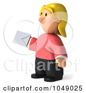 Royalty Free RF Clip Art Illustration Of A 3d Casual Woman Holding A Letter 2