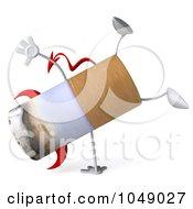 Royalty Free RF Clip Art Illustration Of A 3d Devil Cigarette Doing A Cartwheel