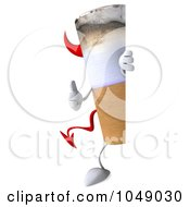 Royalty Free RF Clip Art Illustration Of A 3d Devil Cigarette Looking Around A Blank Sign