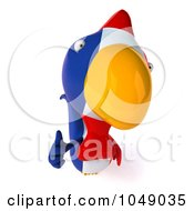 Royalty Free RF Clip Art Illustration Of A 3d French Chicken Holding A Thumb Up 1 by Julos