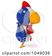 Royalty Free RF Clip Art Illustration Of A 3d French Chicken Holding A Thumb Up 2 by Julos