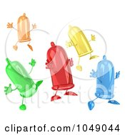 Royalty Free RF Clip Art Illustration Of A 3d Group Of Jumping Condoms