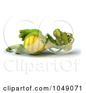 Royalty Free RF Clip Art Illustration Of A 3d Crocodile Reclined