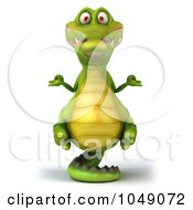 Royalty Free RF Clip Art Illustration Of A 3d Zen Crocodile Meditating