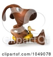 Royalty Free RF Clip Art Illustration Of A 3d Dog Sitting In A Ducky Inner Tube