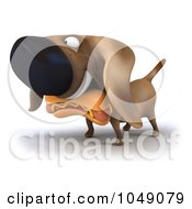 Royalty Free RF Clip Art Illustration Of A 3d Wiener Dog With A Hot Dog