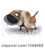 Royalty Free RF Clip Art Illustration Of A 3d Wiener Dog Smiling 1