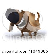 Royalty Free RF Clip Art Illustration Of A 3d Wiener Dog Smiling 2