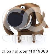 Royalty Free RF Clip Art Illustration Of A 3d Wiener Dog Smiling Over A Blank Sign