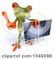 Royalty Free RF Clip Art Illustration Of A 3d Springer Frog Holding A Solar Panel