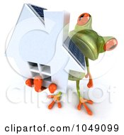 Royalty Free RF Clip Art Illustration Of A 3d Springer Frog Holding A Home With Solar Panels