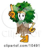 Tree Mascot Cartoon Character Pointing Upwards