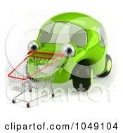 Royalty Free RF Clip Art Illustration Of A 3d Green Car Pushing A Cart