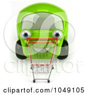 Royalty Free RF Clip Art Illustration Of A 3d Green Car Pushing A Shopping Cart