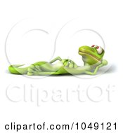 Royalty Free RF Clip Art Illustration Of A 3d Lizard Reclined And Smiling by Julos