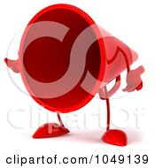 Royalty Free RF Clip Art Illustration Of A 3d Megaphone Character Facing Left