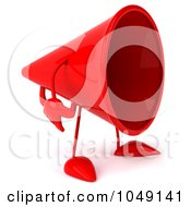 Royalty Free RF Clip Art Illustration Of A 3d Megaphone Character Facing Right