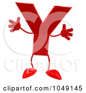 3d Red Letter Y Character