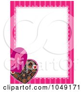 Royalty Free RF Clip Art Illustration Of A Valentines Day Border Of A Box Of Heart Chocolates And Pink Around White