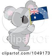 Cute Australian Koala Holding A Flag