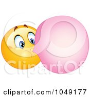Royalty Free RF Clip Art Illustration Of A Smiley Emoticon Blowing Bubble Gum
