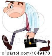 Royalty Free RF Clip Art Illustration Of A Grumpy Businessman Walking