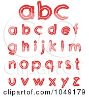 Royalty Free RF Clip Art Illustration Of A Digital Collage Of Red Hand Drawn Lowercase Letters