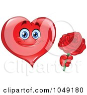 Royalty Free RF Clip Art Illustration Of A Romantic Heart Guy Holding Out A Red Rose
