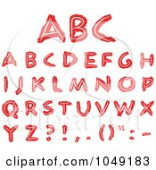 Royalty Free RF Clip Art Illustration Of A Digital Collage Of Red Hand Drawn Capital Letters