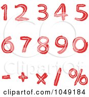 Royalty Free RF Clip Art Illustration Of A Digital Collage Of Red Hand Drawn Numbers And Math Symbols