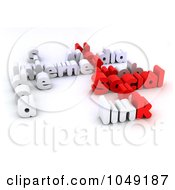 3d Red And White Social Network Word Collage