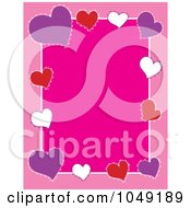 Border Frame Of Colorful Valentine Hearts Over Pink