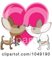 Valentine Chihuahua Couple Smooching Over A Heart