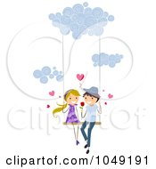 Royalty Free RF Clip Art Illustration Of A Valentine Stick Couple Swinging In The Clouds