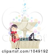 Royalty Free RF Clip Art Illustration Of A Valentine Stick Couple Relaxing On A Fountain by BNP Design Studio