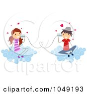 Royalty Free RF Clip Art Illustration Of A Valentine Stick Kid Couple Talking With Can Phones On Clouds