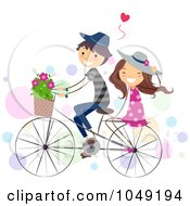 Royalty Free RF Clip Art Illustration Of A Valentine Stick Couple Riding A Bike by BNP Design Studio