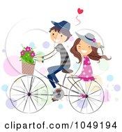 Valentine Stick Couple Riding A Bike