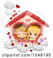 Royalty Free RF Clip Art Illustration Of A Valentine Cartoon Couple Playing House In The Clouds