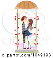 Royalty Free RF Clip Art Illustration Of A Valentine Stick Couple About To Kiss In A Gazebo